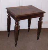 A Victorian oak side table, the rectangular planked top with a moulded edge, a plain frieze on