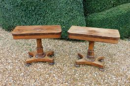 Withdrawn pre-sale by vendor. A pair of William IV rosewood card tables, rectangular top with rounde