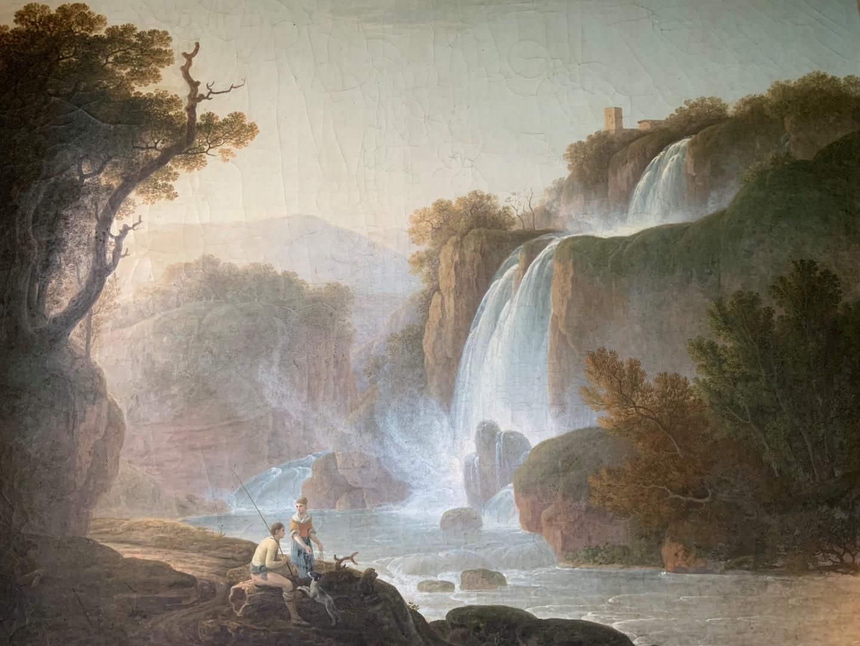 Jacob More (British 1740-1793). The Falls of Tivoli, with figures of a fisherman, his companion