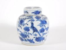 A late 19thC Chinese blue and white porcelain ginger jar and cover, handpainted with birds and