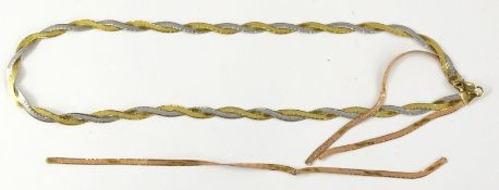 An Italian three colour necklace, yellow and white metal, stamped Italy 9K, 10.7g. (AF)