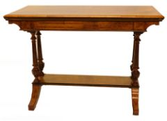 A Victorian exhibition quality figured walnut card table, the rectangular top with a moulded edge