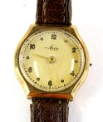 An Avia ladies 9ct gold wristwatch, lacking crown, with leather strap.