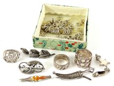 A quantity of silver and white metal jewellery etc., to include a bar brooch with enamel