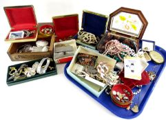 A quantity of costume jewellery, jewellery boxes, a small amount of nickel silver, mainly nickel