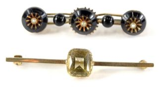 Two bar brooches, each of rectangular form, one inset with a citrine, the other seed pearls, etc.