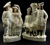 Three 19thC Staffordshire flat back figures, to include Robin Hood and a further two figures of a