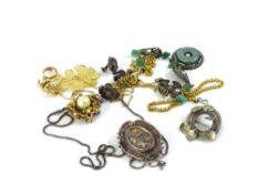 A quantity of costume jewellery, to include a Victorian silver brooch decorated in yellow metal with