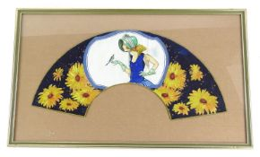 An Art Deco painted fan leaf, decorated in the form of a flapper holding a bird within a
