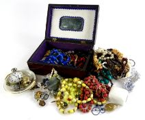 A quantity of costume jewellery, to include necklaces, brooches, a silver plated pocket watch,