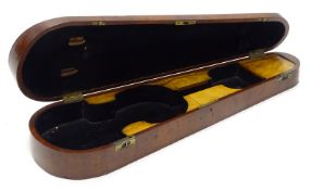 A late 19th/early 20thC figured mahogany violin case, with copper mounts, later leather handle,