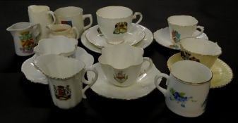 Shelley Foley and other crested china tea wares, mugs, and jugs, including Arms of The Borough of