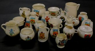 Goss crested china, including a mug and sugar bowl, model of a Cromwellian mortar found at Hythe,
