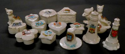 Grafton Carlton and other crested china, including a Glad Eyes Bird, Arms of Cheltenham., moulded