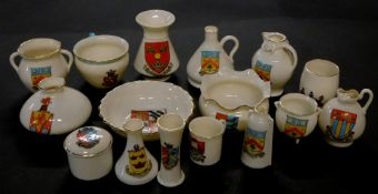Goss crested china, including a model of the Ancient ewer in Boston Museum, Arms of Cheltenham.,