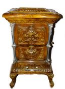 A French late 19thC Goudin cast iron polished metal and enamel stove, Model No 287., of serpentine