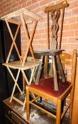 A pair of folding tables, an elm spinning chair and a pine dining chair. (4)