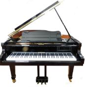 A W.Hoffmann by C Bechstein of Europe baby grand piano, in a black gloss finish, with soft close
