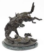 After Frederic Remington (1861-1906). The Wicked Pony, a bronze figure group of pony and fallen