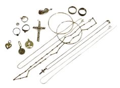 Various silver and silver plated jewellery, to include dress rings, pendants and chains, coin