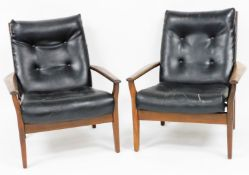 A pair of Danish type rosewood and leatherette armchairs, the two cushioned black faux leather
