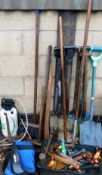 Various garden and other tools, to include spades, sledge hammers, chisels, screwdrivers, tape