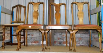 Four various dining chairs, to include a set of three slat back chairs and a mahogany tapestry
