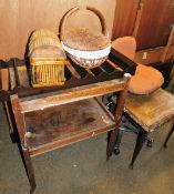 A group of furnishings and effects, to include swivel chair, two tier trolley, plate rack, two