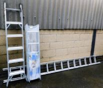 Three step ladders, comprising a tall extending ladder, a wall level extending ladder, and a B & Q