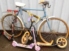 A Universal gentleman's bicycle, and three scooters, to include Action Man, Moxy Girlz and