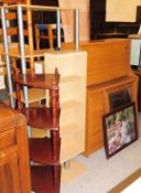 *A large group of furniture and effects, to include a teak side cabinet, CD rack, corner whatnot,