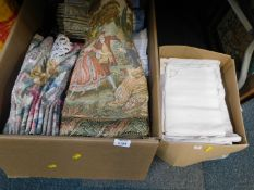Table linen, tapestry cushion cover, needlepoint pictures, etc. (2 boxes)