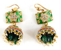 A pair of Indian enamel drop earrings, each with green enamelled top set with round brilliant cut