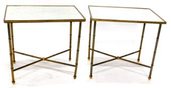 A pair of brass rectangular occasional tables, each with a mirrored top etched with Chinoiserie