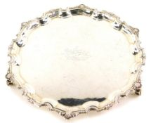 An Elizabeth II silver salver, the shaped piecrust border cast with shells, etc., engraved to the