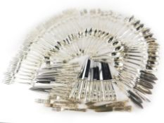 An associated canteen of 19thC and later silver Kings pattern cutlery, comprising an set of twelve