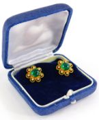 A pair of emerald and diamond cluster earrings, each set with central cabochon cut emerald with