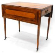 An early 19thC mahogany and satinwood and crossbanded Pembroke table, the rectangular top inlaid