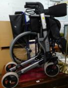 A folding wheelchair and a folding mobility walker.