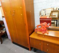A teak mirror backed dressing table and a double wardrobe, painted cupboard, a storage box, a