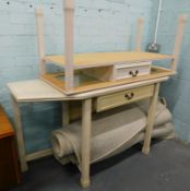 An Ercol type foldover top side or dining table, a matching coffee table etc., two wool rugs,