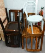 A collection of furniture, to include four dining chairs, and a blue painted bentwood chair.