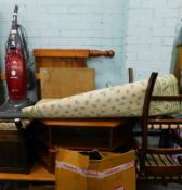 A collection of items, to include a piano stool, Hoover vacuum cleaner, pine headboard, coffee