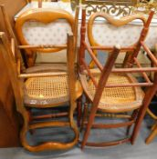 Four bedroom chairs, two with bergere seats.