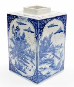 A Chinese porcelain blue and white porcelain tea canister, of rectangular form, decorated with