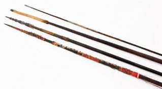 An African tribal spear, with plain handle, turned top and pierced wooden top end, 190cm high,