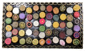 An impressive collection of Kufi hats of various embroidered coloured design, (57), together with