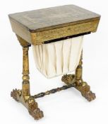 A 19thC Chinese export black lacquer work table, with rounded rectangular chinoiserie decorated