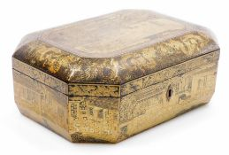 A 19thC octagonal Chinese export lacquer box, decorated in gilt with panels of figures and buildings
