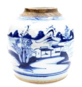 A Chinese blue and white porcelain ginger jar, decorated with a landscape scene below geometric